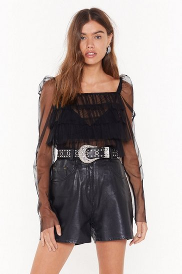 Black Ruffled Voices Mesh Square Neck Top