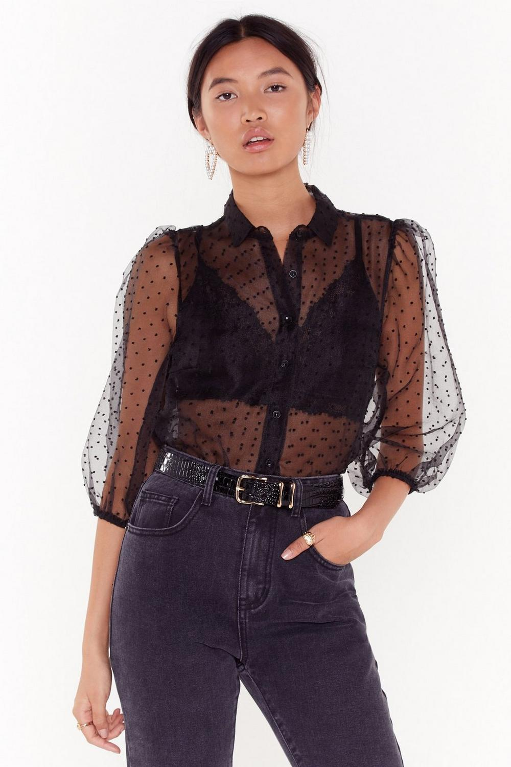 Dot Damn Polka Dot Organza Blouse by Nasty Gal