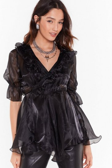 Womens Black Cool Now Shimmer Ruffle Organza Blouse