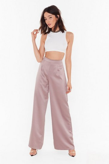 Womens Slate Satin the Mood Wide-Leg Trousers