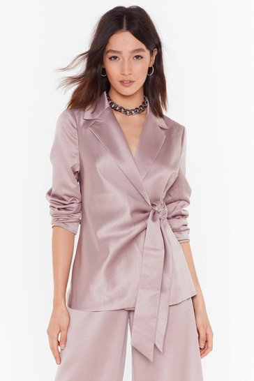 Womens Slate Make It Slick Satin Tie Blazer