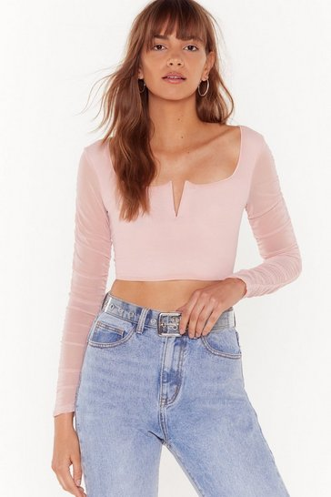 Womens Rose Meet Me at V Bar Ruched Crop Top