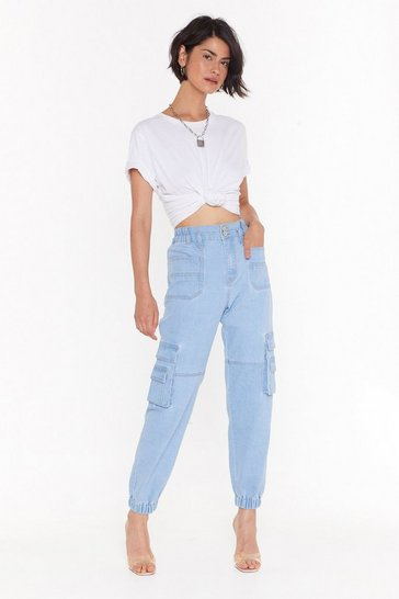 Womens Light blue I Know What You Jean High-Waisted Utility Jeans