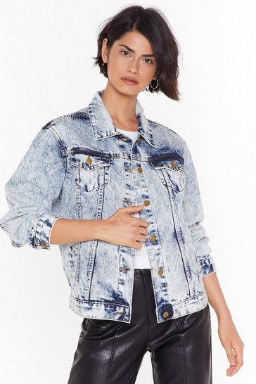 Womens Light blue Say What You Jean Acid Wash Denim Jacket
