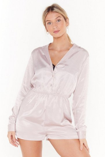 Womens Mauve Love to Sleek Satin Jaquard Teddy