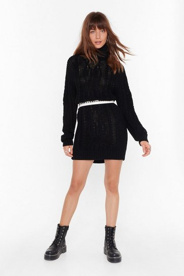 Black Asking for Knit Turtleneck Sweater Dress