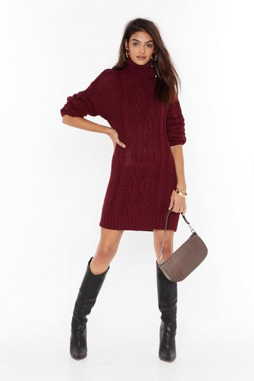 Womens Wine Asking for Knit Turtleneck Sweater Dress