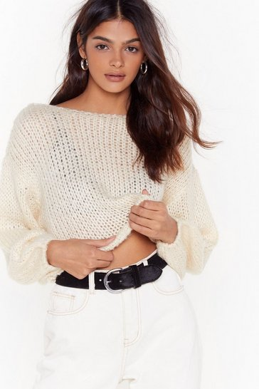 Womens Ecru Knit the Road Boat Neck Sweater