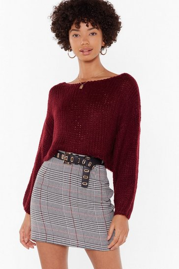 Womens Wine Knit the Road Boat Neck Sweater