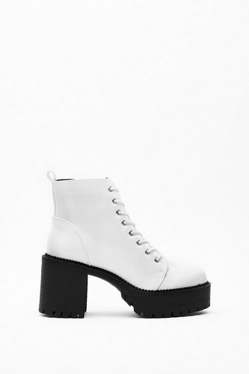 Womens White Hit 'Em Up Faux Leather Platform Boots