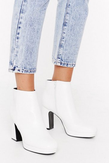 Womens White Hit the Block Button Faux Leather Ankle Boots