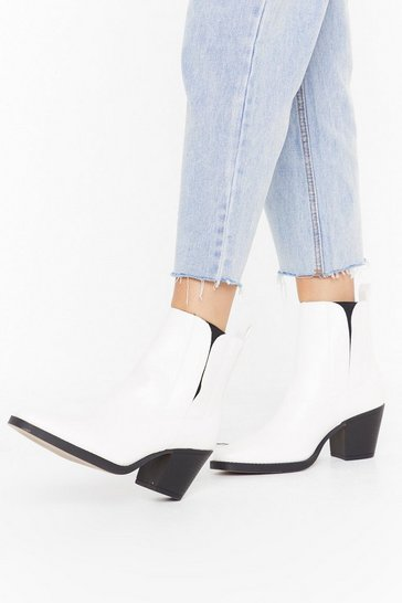 Womens White Skip to the Weekend Faux Leather Ankle Boots