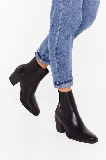 Womens Black PU coveredgusset block heel chelsea boots