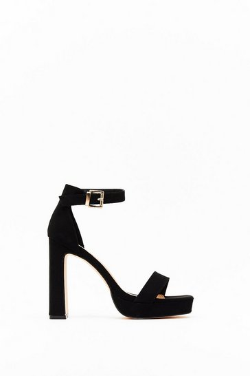 Womens Black Flyin' High Faux Suede Block Heels