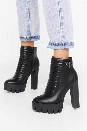 Womens Black Vamp Up the Volume Faux Leather Platform Boots