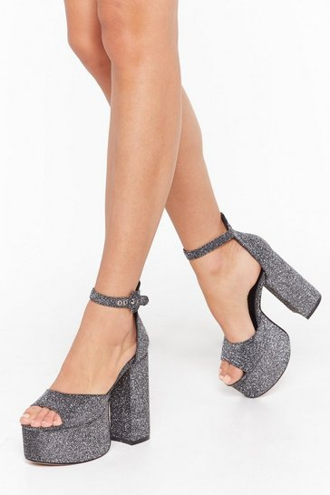 Womens Silver Rise to the Top Glitter Platform Heels