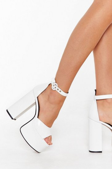 Womens White Rise to the Top Faux Leather Platform Heels