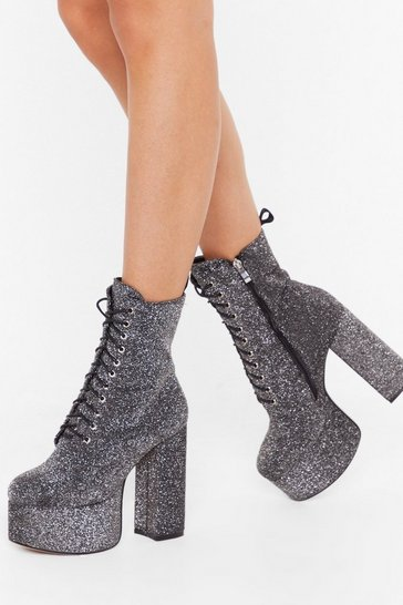 Womens Silver Rise to the Top Glitter Platform Boots