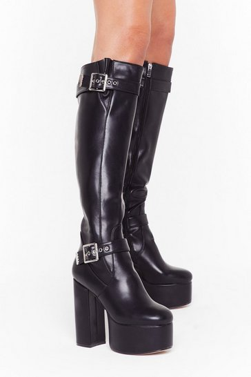 Womens Black Oh Buck It Knee-High Platform Boots