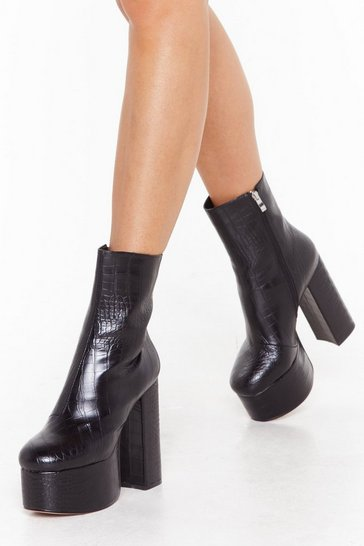 Womens Black Croc Me Good Platform Boots