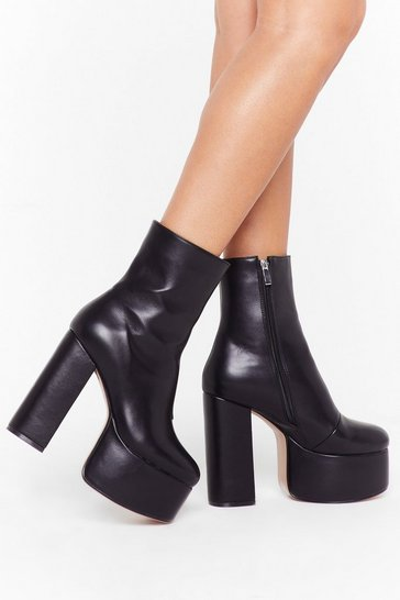 Black Dance to the Beat Faux Leather Platform Boots