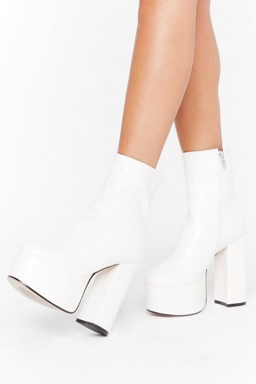 Womens White Dance to the Beat Faux Leather Platform Boots