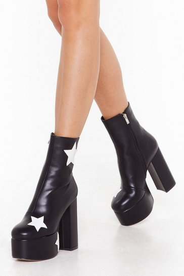 Womens Black Get Up and Dance Platform Star Boots