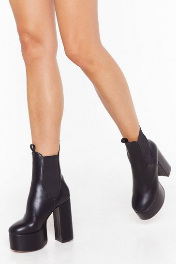 Womens Black Just Running Out Platform Chelsea Boots