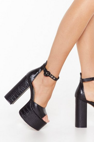 Womens Black Rise to the Top Croc Platform Heels