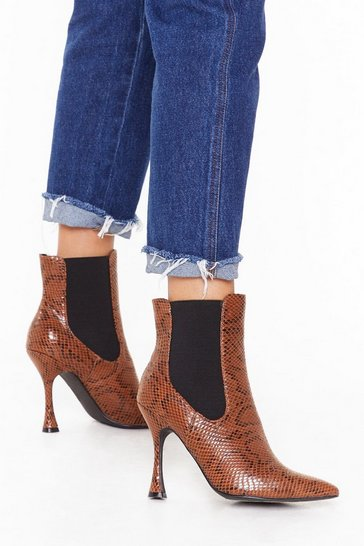 Black Snake It Away Pointed Faux Leather Boots