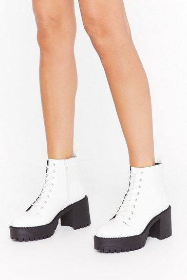 White Set the Lace-Up Patent Faux Leather Boots