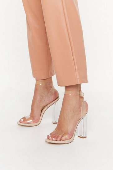 Womens Nude Lets Be Crystal Clear 2 Part Perspex Heels