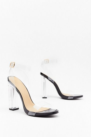 Womens Black Let's Be Clear Perspex Heels