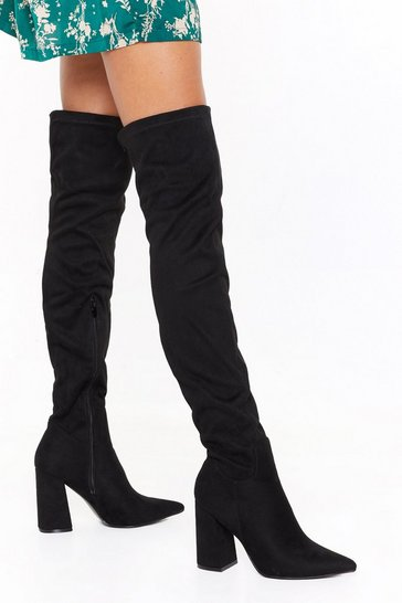 Womens Black Immi Suede Flare Heel OTK Boots