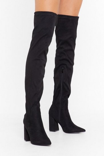 Womens Black PU Stretch Flare Heel OTK Boots