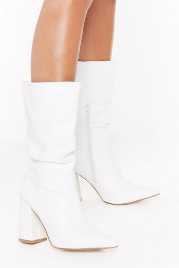 Womens White PU Flare Heel Mid Sock Boots