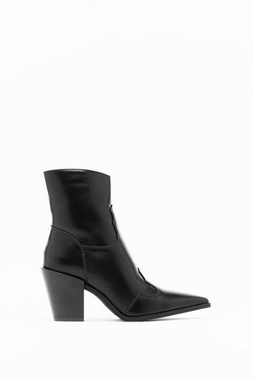 Womens Black PU Pointed Block Heel Ankle Boots