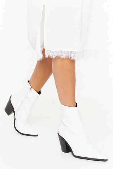 Womens White PU Pointed Block Heel Ankle Boots