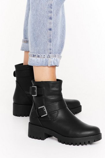 Womens Black Kick 'Em Into Gear Faux Leather Buckle Boots
