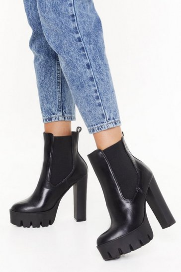 Black Mega Heel And Cleated Chelsea Boot