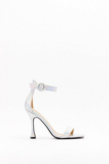 Womens Silver Standing on Higher Ground Metallic Stilletto Heels