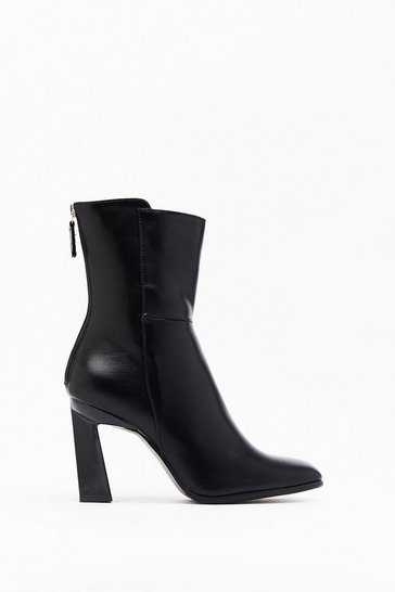 Black You Think We Flare Faux Leather Ankle Boots