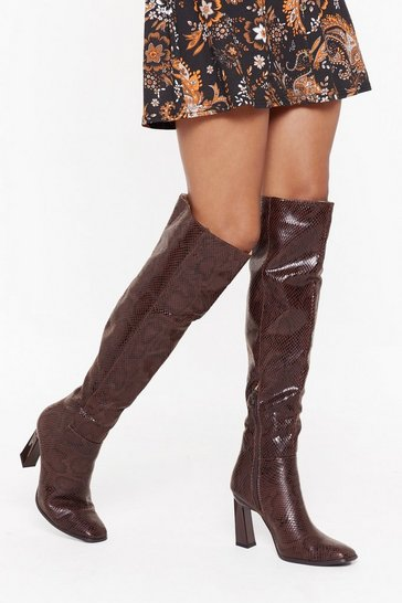 Brown We're Gonna Snake It Faux Leather Knee High Boots