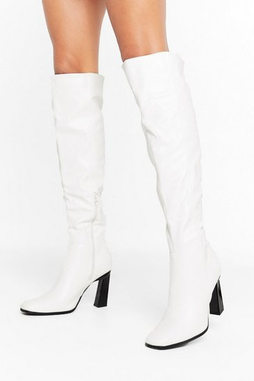 Womens White Pretend You Don't Flare Knee-High Boots