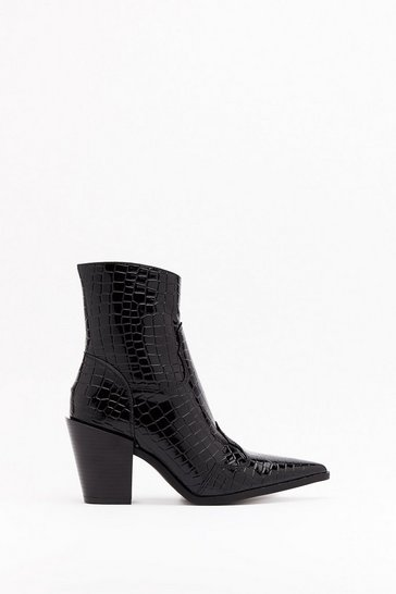 Womens Black Gotta Point Patent Croc Boots