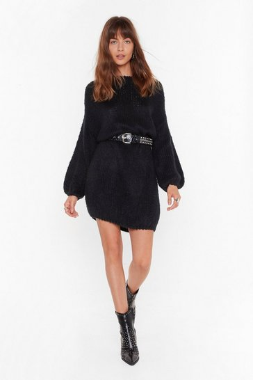 Black All Night Longline Knitted Boat Neck Sweater