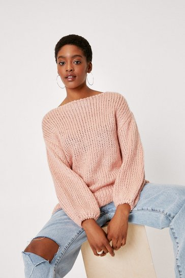 Rose All Night Longline Knitted Boat Neck Sweater