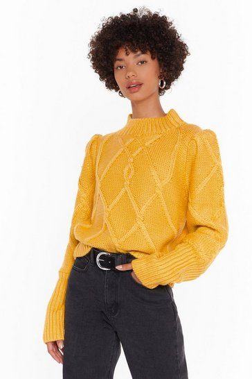Mustard Puff Sleeve Cable Knit Jumper