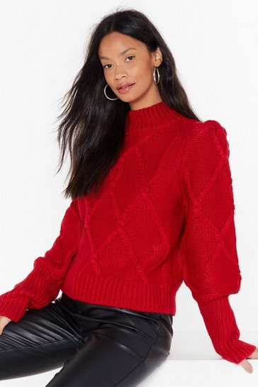 Womens Red Sleeve the Lights On Cable Knit Sweater