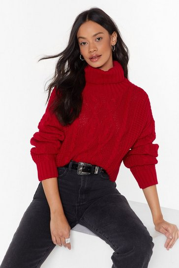 Red Can't Believe Knit Cable Knit Sweater